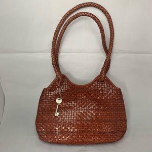 Vintage Fossil Leather Basket Weave Handbag 75082